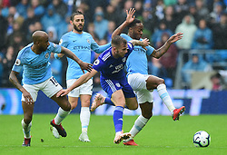 Raheem Sterling of Manchester City battles for the ball with Joe Ralls of Cardiff City - Mandatory by-line: Alex James/JMP - 22/09/2018 -  FOOTBALL - Cardiff City Stadium - Cardiff, Wales -  Cardiff City v Manchester City - Premier League