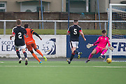 Dundee United trialist Felitciano Zschusschen scores - Dundee v Dundee United in the SPFL Development League at Links Park, Montrose. Photo: David Young<br /> <br />  - &copy; David Young - www.davidyoungphoto.co.uk - email: davidyoungphoto@gmail.com