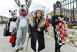 © Licensed to London News Pictures. 21/03/2019. LONDON, UK.  Children in Stamford Hill, north London, dress in colourful costumes as they celebrate the Jewish festival of Purim.  The festival involves the reading of the Book of Esther, describing the defeat of Haman, the Persian king's adviser, who plotted to massacre the Jewish people 2,500 years ago, an event that was prevented by Esther's courage.  Photo credit: Stephen Chung/LNP