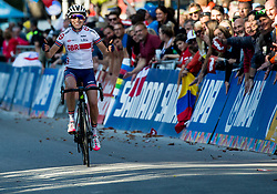 WRIGHT Sophie of Great Britain celebrates during the Women's Elite Road Race a 156.2km race from Kufstein to Innsbruck 582m at the 91st UCI Road World Championships 2018 / RR / RWC / on September 29, 2018 in Innsbruck, Austria. Photo by Vid Ponikvar / Sportida