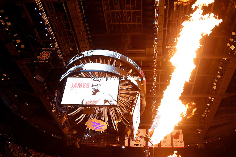 Jun 18, 2013; Miami, FL, USA; Miami Heat small forward LeBron James (not pictured) is introduced prior to game six in the 2013 NBA Finals against the San Antonio Spurs at American Airlines Arena.  Mandatory Credit: Derick E. Hingle-USA TODAY Sports