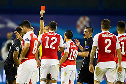 Oliver Giroiud #12 of Arsenal F.C. and red card during football match between GNK Dinamo Zagreb, CRO and Arsenal FC, ENG in Group F of Group Stage of UEFA Champions League 2015/16, on September 16, 2015 in Stadium Maksimir, Zagreb, Croatia. Photo by Urban Urbanc / Sportida