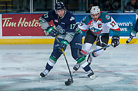 KELOWNA, CANADA - APRIL 30: Rodney Southam #17 of the Kelowna Rockets stick checks Tyler Adams #17 of the Seattle Thunderbirds  on April 30, 2017 at Prospera Place in Kelowna, British Columbia, Canada.  (Photo by Marissa Baecker/Shoot the Breeze)  *** Local Caption ***