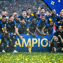 Team of France celebrate their victory during the World Cup Final match between France and Croatia at Luzhniki Stadium on July 15, 2018 in Moscow, Russia. (Photo by Anthony Dibon/Icon Sport)