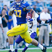 Delaware Linebacker Jessel Curry #37 returns a interception for a touchdown during a Week 2 NCAA football game against Westchester in the first quarter.  ..#8 Delaware defeated Westchester 28-17  in their home opener at Delaware Stadium Saturday Sept. 10, 2011 in Newark DE...Delaware will return home Sept. 17, 2011 for a showdown with interstate Rival Delaware State at 6:pm at Delaware Stadium. (Monsterphoto/Saquan Stimpson)