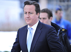 British Prime Minister David Cameron arrives at EU headquarters for an EU summit in Brussels, capital of Belgium, March 14, 2013. Photo by Imago / i-Images...UK ONLY.Contact..