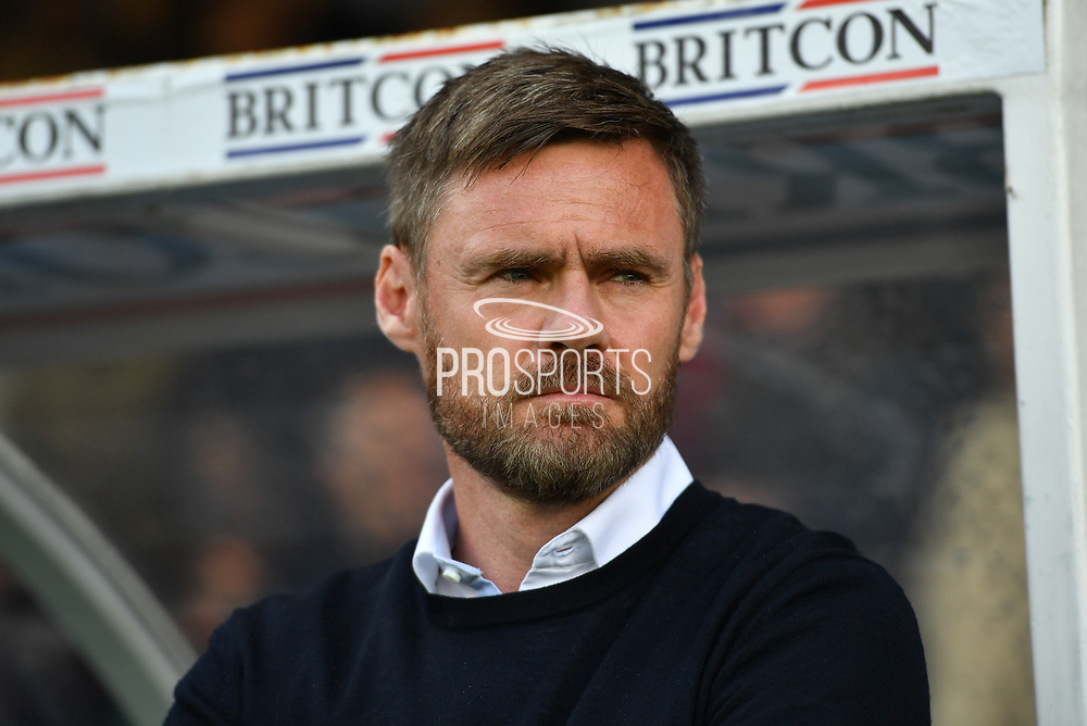 Sunthorpe United manager Graham Alexander during the EFL Sky Bet League 1 match between Scunthorpe United and Blackpool at Glanford Park, Scunthorpe, England on 9 September 2017. Photo by Ian Lyall.