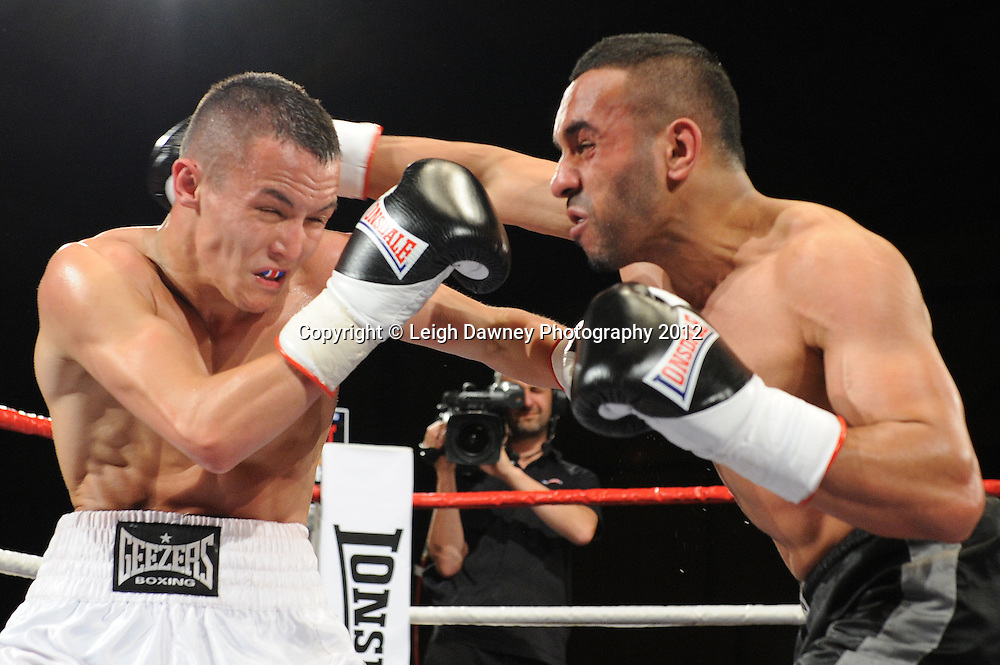 Josh Warrington defeats Ibrar Riyaz in a 4x3 min Featherweight contest at the Bowlers Exhibition Centre, Manchester, on the 2nd June 2012. Frank Maloney Promotions © Leigh Dawney Photography 2012.