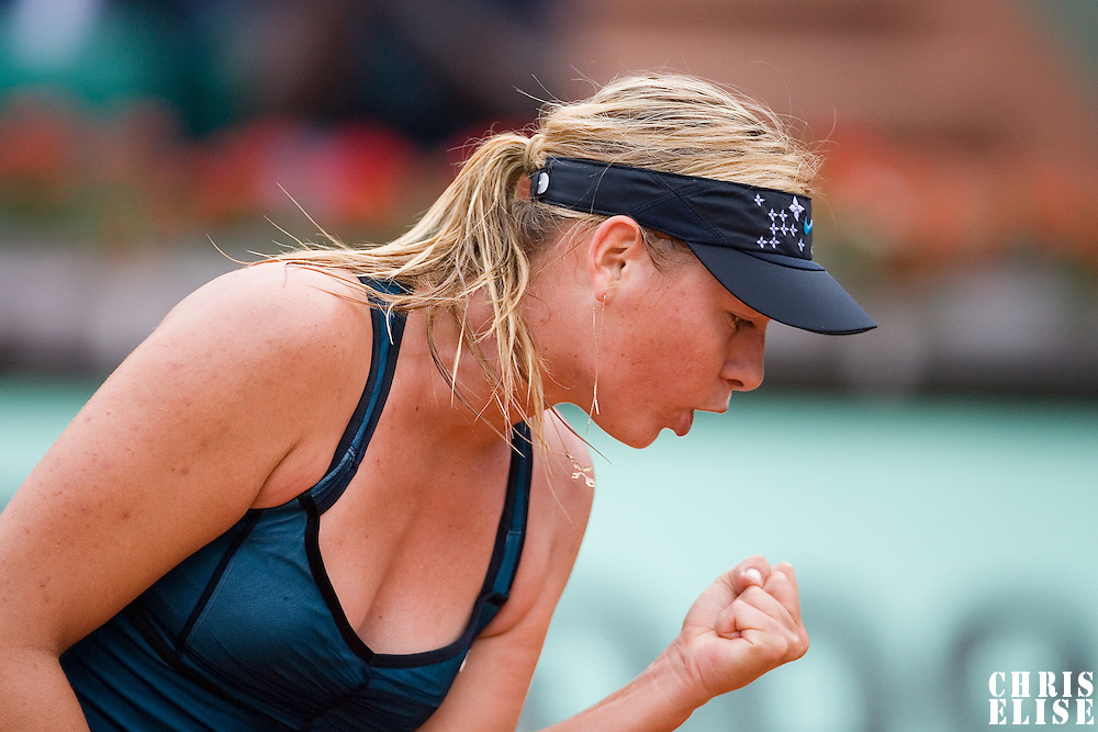 03 June 2007: Russian player Maria Sharapova reacts during the French Tennis Open fourth round match, won 3-6, 6-4, 9-7 by Maria Sharapova against Patty Schnyder, on day 8 at Roland Garros, in Paris, France.