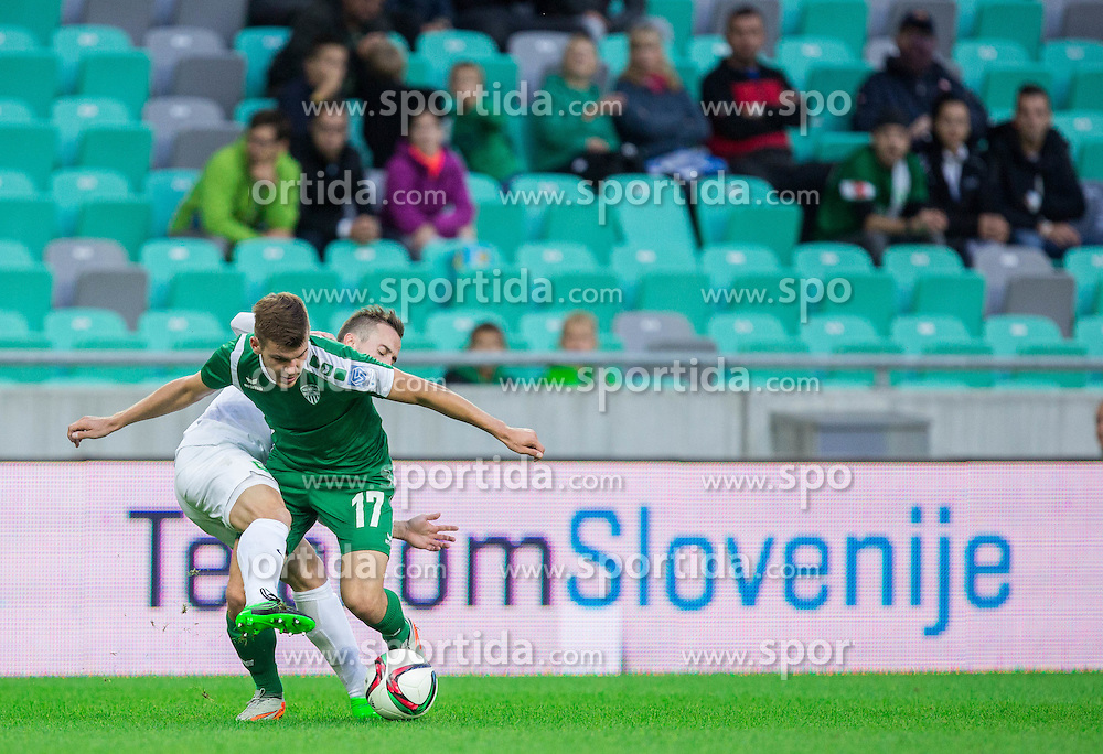 Matic Fink #17 of Olimpija vs Luka Stefanac #17 of Krsko during football match between NK Olimpija Ljubljana and NK Krsko in 13th Round of Prva liga Telekom Slovenije 2015/16, on October 4, 2015 in SRC Stozice, Ljubljana, Slovenia. Photo by Vid Ponikvar / Sportida
