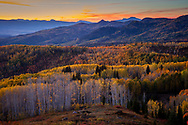 Buffalo Pass road andscape with fall colored aspen trees at sunset, Steamboat Springs, Colorado. http://www.gettyimages.com/license/694152541