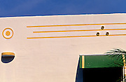 Art Deco stream lines and geometric forms on a small Miami Beach apartment building in the historic South Beach district.