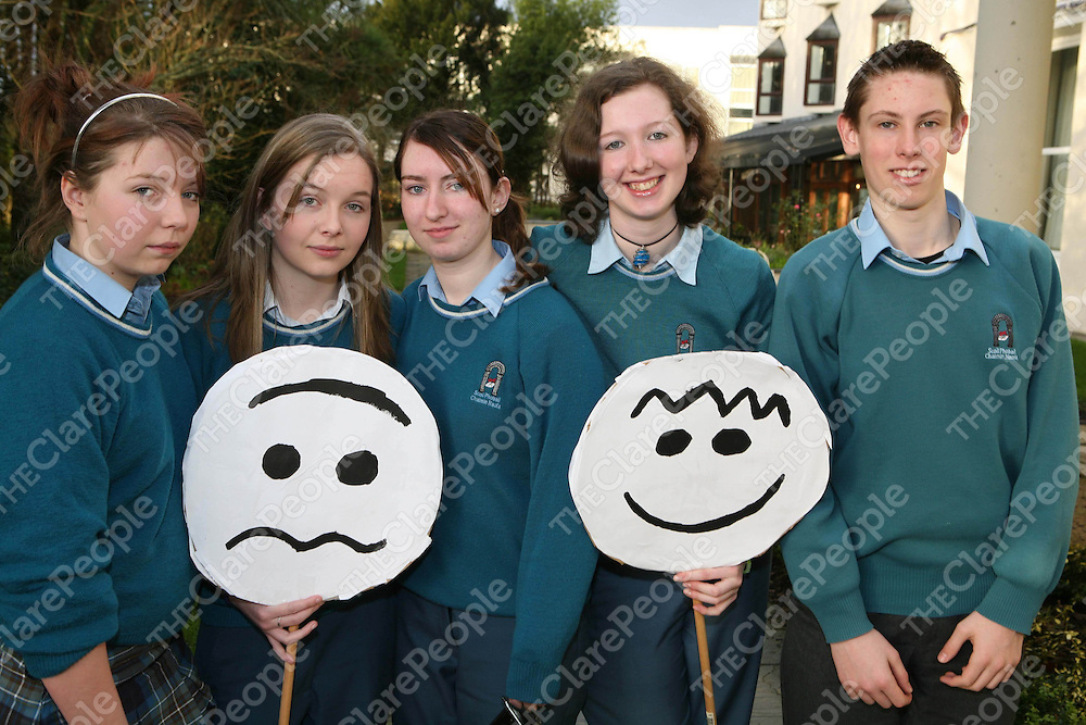 Hayley McHugh, Sarah Whitsell, Sinead O'Neill, Aine O'Halloran and David Kirby, members of the team from St Caimin's Community School who addressed the Young Social Innovators forum on the topic of mental health.<br /> Photo by Derek Speirs