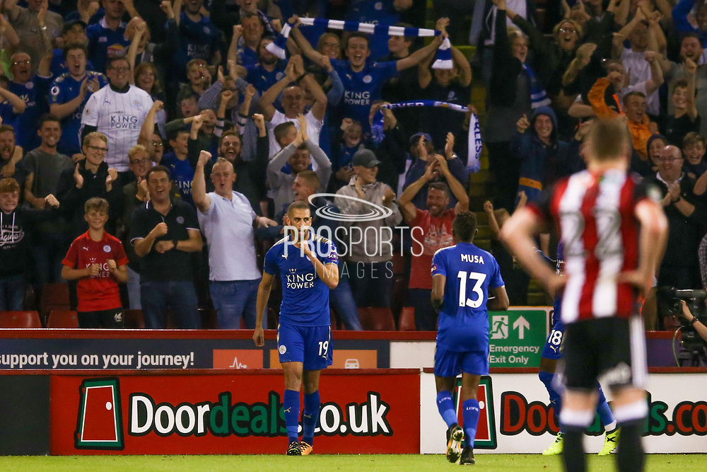 Leicester City forward Islam Slimani (19) scores a goal and celebrates to make the score 0-3 during the EFL Cup match between Sheffield Utd and Leicester City at Bramall Lane, Sheffield, England on 22 August 2017. Photo by Simon Davies.