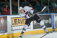 KELOWNA, CANADA - JANUARY 2: Cal Foote #25 of Kelowna Rockets shoots the puck against the Victoria Royals on January 2, 2016 at Prospera Place in Kelowna, British Columbia, Canada.  (Photo by Marissa Baecker/Shoot the Breeze)  *** Local Caption *** Cal Foote;
