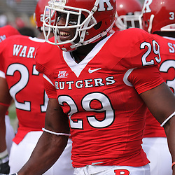 Sep 7, 2009; Piscataway, NJ, USA; Rutgers cornerback Zaire Kitchen (29) prior to Rutgers game against Cincinnati in NCAA college football at Rutgers Stadium.