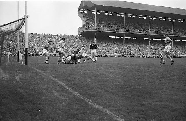 Group pf players in a tackle near the goal <br /> during the All Ireland Senior Gaelic Football Championship Final Dublin v Galway in Croke Park on the 22nd September 1963. Dublin 1-9 Galway 0-10.