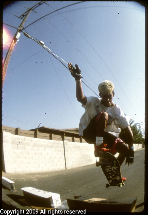 Powell Peralta skateboarder Steve Caballero skateboards during an October 1987 demo contest in Visalia, California.