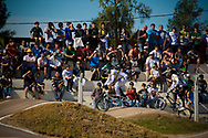 Crowds start to pull gather to watch the first practice round at the UCI BMX Supercross World Cup in Santiago del Estero, Argintina.