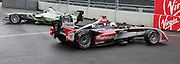 Karun Chandhok facing the wrong way on the race track after narrowingly avoiding a crash during the FIA Formula E Visa London ePrix  at Battersea Park, London, United Kingdom on 28 June 2015. Photo by Matthew Redman.