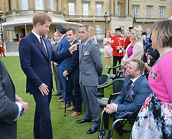Prince Harry speaks to Jack Cummings during the Not Forgotten Association Annual Garden Party at Buckingham Palace, London.