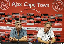 Cape Town--180409 Ajax Cape Town chairman Ari Efstathiou and coach Muhsin Ertugral explaining the Tendai Ndoro saga when the team held a media briefing this afternoon  .Photographer;Phando Jikelo/African News Agency/ANA