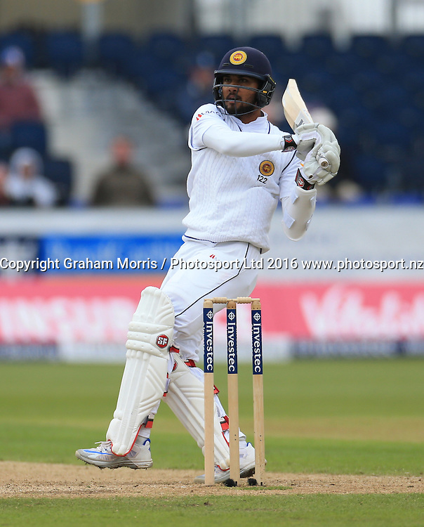 Dinesh Chandimal, four off the bowling of Steven Finn, during the second Investec Test Match between England and Sri Lanka at Chester-le-Street, Durham. Photo: Graham Morris/ Photosport.nz