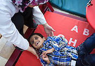 Mourhaf is six years old. He was born both deaf and blind.