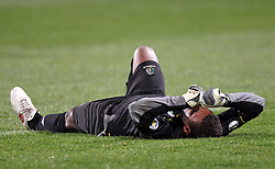 Solomon Islands' goalkeeper Samson Koti is injured and replaced just before half time whilst playing New Zealand in a FIFA World Cup Qualifier Match, North Harbour Stadium, Auckland, New Zealand, Tuesday, September 11, 2012.  Credit:SNPA / David Rowland