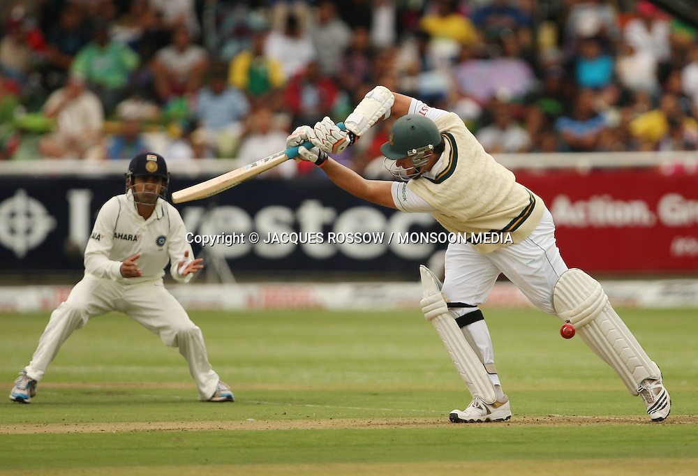 Greame Smith loses his wicket judged LBW during Day 1 of the third and final Test between South Africa and India played at Sahara Park Newlands in Cape Town, South Africa, on 2 January 2011. Photo by Jacques Rossouw / MONSOON MEDIA