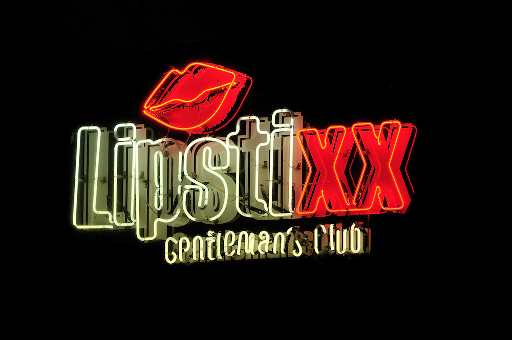 Lipstixx, Gentleman's club sign, night, French Quarter, New Orleans, Louisiana, USA