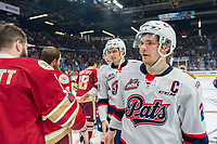REGINA, SK - MAY 27:  Sam Steel #23 of Regina Pats shakes hands with the Acadie-Bathurst Titan at Brandt Centre - Evraz Place on May 27, 2018 in Regina, Canada. (Photo by Marissa Baecker/Getty Images)