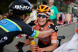 Karol-Ann Canuel (CAN) recovers after her solo effort at Ladies Tour of Norway 2018 Stage 1, a 127.7 km road race from Rakkestad to Mysen, Norway on August 17, 2018. Photo by Sean Robinson/velofocus.com