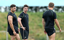 Sam Lewis, Matt Williams and Jamie Shillcock of Worcester Warriors talk to each other - Mandatory by-line: Robbie Stephenson/JMP - 07/06/2016 - RUGBY - Worcester Warriors - Pre-season training session