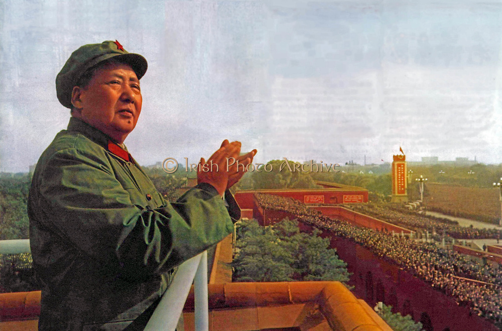 Mao Ze Dung, Chinese political leader. (1893 - 1976) reviews Red Guards 1966