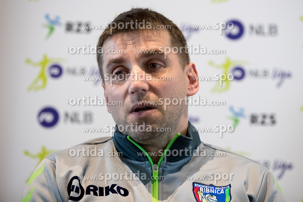 Robert Begus of RD Riko Ribnica at press conference of Slovenian Handball League before the Playoff, on March 15, 2017 in NLB Center inovativnega podjetnistva, Ljubljana, Slovenia. Photo by Matic Klansek Velej / Sportida