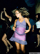 Girl wearing a knitted purple dress Ibiza 1999