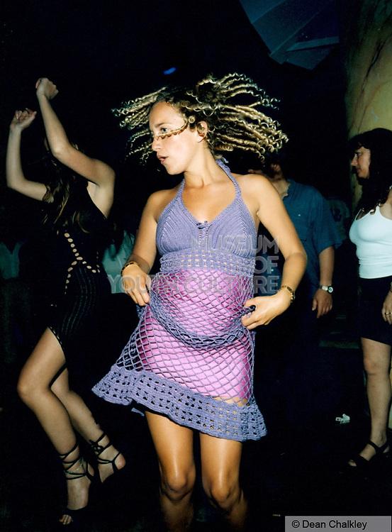 Girl wearing a knitted purple dress Ibiza 1999