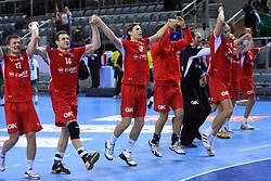 Team of Denmark celebrate after 21st Men's World Handball Championship preliminary Group D match between Denmark and Saudi Arabia, on January 19, 2009, in Arena Zatika, Porec, Croatia. Win of Denmark 32:13. (Photo by Vid Ponikvar / Sportida)