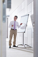 Businessman preparing for presentation on flipchart in office