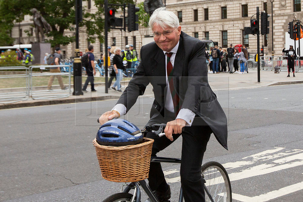 © Licensed to London News Pictures. 03/09/2019. London, UK. MP for Sutton Coldfield Andrew Mitchell arrives at Parliament . Parliament is returning from the summer recess today with MPs expected to try to stop a no-deal Brexit. Prime Minister Boris Johnson has threatened to hold a snap election if the legislation is passed.  Photo credit: George Cracknell Wright/LNP