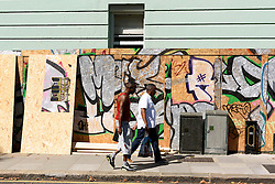 © Licensed to London News Pictures. 26/08/2016.  A residential property being boarded up in Notting Hill ahead of the annual Notting Hill Carnival which starts this bank holiday weekend.  London, UK. Photo credit: Ray Tang/LNP