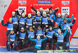 Men team of Slovenia celebrates after the  last Individual Competition in season 2013/14 at 4th day of FIS Ski Jumping World Cup Finals Planica 2014, on March 23, 2014 in Planica, Slovenia. Photo by Vid Ponikvar / Sportida