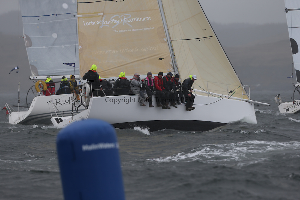 The Clyde Cruising Club's Scottish Series held on Loch Fyne by Tarbert. <br /> Day 4 Racing with a wet Southerly to start clearing up for the last race.<br /> <br /> GBR7667R, Now or Never 3, Neil Sandford, National YC, Mat 10 10