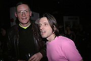Giles deacon and Jeremy deller, Future Punk Launch party at Selfridges, Oxford St. : 9th March. ONE TIME USE ONLY - DO NOT ARCHIVE  © Copyright Photograph by Dafydd Jones 66 Stockwell Park Rd. London SW9 0DA Tel 020 7733 0108 www.dafjones.com