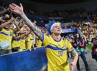 FUSSBALL: UEFA  U21-EUROPAMEISTERSCHAFT  2015  FINALE Schweden - Portugal     30.06.2015  Schweden ist Europameister: John Guidetti (Schweden) bejubelt den Sieg ueber