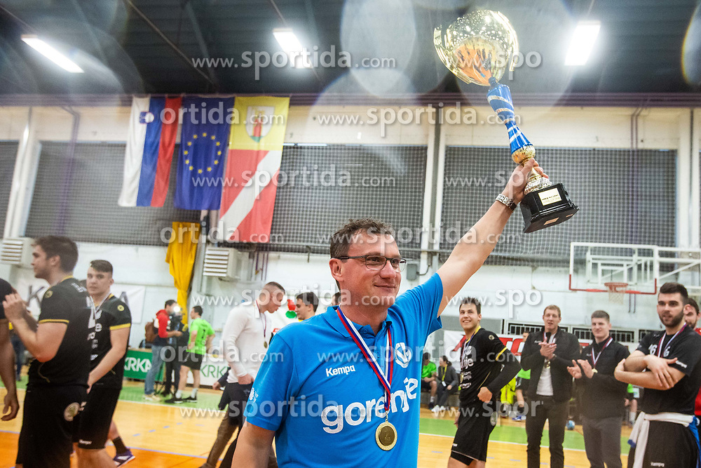 Zoran Jovicic head coach of RK Gorenje Velenje after winning Slovenian cup during handball match between RK Gorenje Velenje and MRK Krka in Final of Slovenian Men Handball Cup 2018/19, on Maj 12, 2019 in Novo Mesto, Slovenia. Photo by Grega Valancic / Sportida