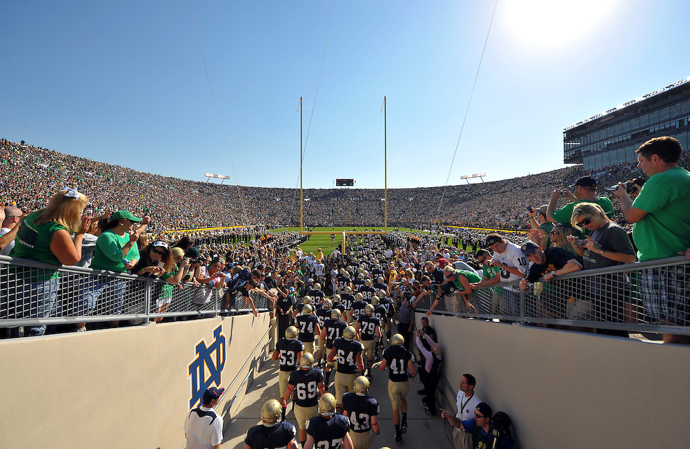 The Notre Dame Fighting Irish enters Notre Dame Stadium before the game.