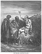 Job and His Friends Job 2:11-13 From the book 'Bible Gallery' Illustrated by Gustave Dore with Memoir of Dore and Descriptive Letter-press by Talbot W. Chambers D.D. Published by Cassell & Company Limited in London and simultaneously by Mame in Tours, France in 1866