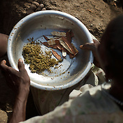 April 28, 2012 - Buram, Nuba Mountains, South Kordofan, Sudan: A local resident shows the food available for the whole family at their improvised home in the caves outside Buram village in South Kordofan's Nuba Mountains...Since the 6th of June 2011, the Sudan's Army Forces (SAF) initiated, under direct orders from President Bashir, an attack campaign against civil areas throughout the South Kordofan's province. Hundreds have been killed and many more injured...Local residents, of Nuba origin, have since lived in fear and the majority moved from their homes to caves in the nearby mountains. Others chose to find refuge in South Sudan, driven by the lack of food cause by the agriculture production halt due to the constant bombardments of rural areas. (Paulo Nunes dos Santos/Polaris)